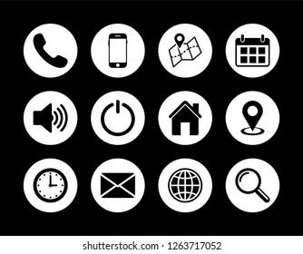 Contact us set icon, web icon set vector, eps10 editable