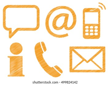 Contact Us, set of six colored scribble design icons isolated on white background