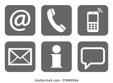 Contact Us, set of six white icons in gray boxes