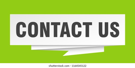 contact us sign. contact us paper origami speech bubble. contact us tag. contact us banner