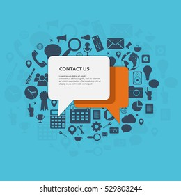 Contact us. Speech bubbles with text and icons. Flat vector illustration.