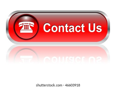 Contact us, telephone icon, button, red glossy with shadow