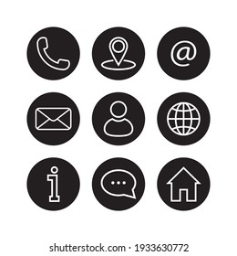 Contact us vector icon set. Contact us buttons