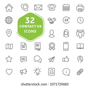 Contact us vector icons. Outline icons collection. Thin lines web icons set. Flat design. Ui icons