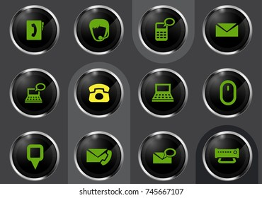 Contact us vector icons for user interface design