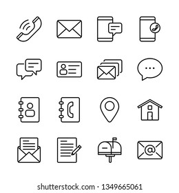 Contact Us Vector Line Icons Set. Call, Chat, Contact, Email, Message, Mail and more