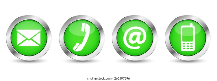 Contact us web buttons set with email, at, telephone and mobile icons on green silver badge vector EPS 10 illustration isolated on white background.