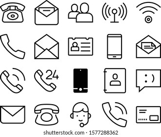 contact vector icon set such as: mms, 24, manager, desk, id, cellular, assistant, photo, week, store, thin, hot, pictogram, add team, book, man, hotline, identity, add, collection, shine, blank, text