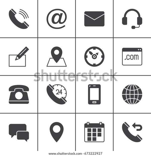 Contact Vector Icons Set Modern Solid Stock Vector (Royalty