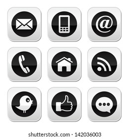 Contact, web, blog and social media buttons