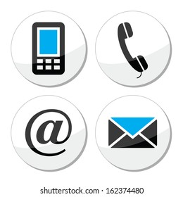 Contact web and internet vector icons set
