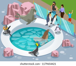 Contact zoo isometric composition with penguin custom made lake and people behind the glossy separating barrier vector illustration