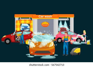 Car Wash Services Auto Cleaning Water Stock Vector Royalty Free