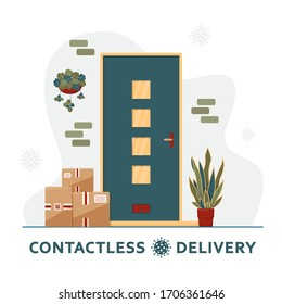 Contactless delivery concept. Boxes of purchases stand at the door. Delivery concept. Non-contact express delivery service. Self isolation lifestyle. Online shopping during quarantine. Covid-19