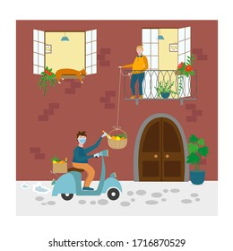 Contactless delivery concept, coronavirus. Italy Naples delivery, hanging basket. Home delivery foods, goods without contact with recipient, safety distance. Flat vector illustration, isolated objects