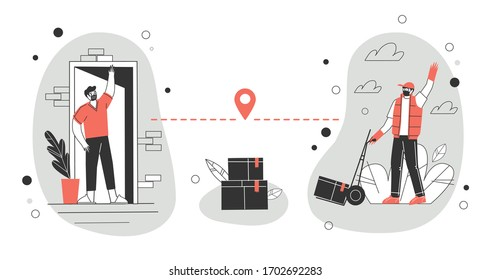 Contactless delivery concept illustration. A courier wearing a protective medical mask and gloves delivers parcels at a social distance. Vector