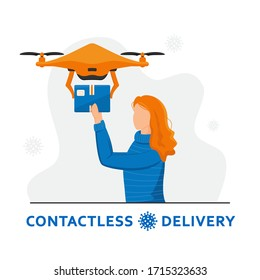 Contactless home delivery. Drone delivery concept. Red-haired girl holds out her hands to a quadrocopter. Remote air drone with a box. Non-contact express delivery during coronavirus pandemic