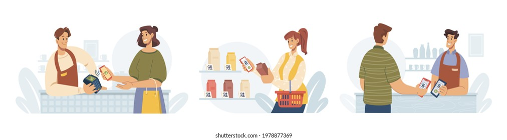 Contactless pay, people paying by smartphone, flat cartoon vector illustrations set. Mobile payments for purchases via nfc. Supermarket store counter cashier and buyer, shopper and vender at shop