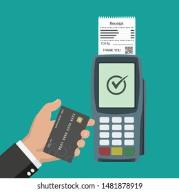 Contactless payment concept with hand holding card and POS terminal in flat design
