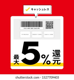 """Contactless payment concept -  Smartphone with Barcode, QR code, cards and Japanese on red background. Translation: """"Cashless payment"""" """"MAX 5% point give back"""".- Flat design vector illustration"""