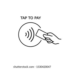 Contactless payment, credit card and hand tap pay wave logo. Vector wireless NFC and contactless pay pass icon