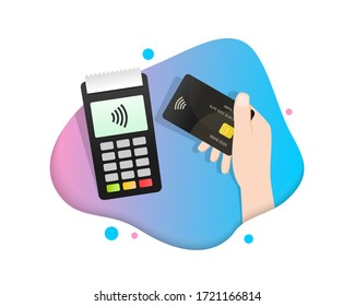 Contactless payment, hand holding credit or debit card close to the POS (Point Of Sale) terminal to pay. Flat illustration with gradient colors.