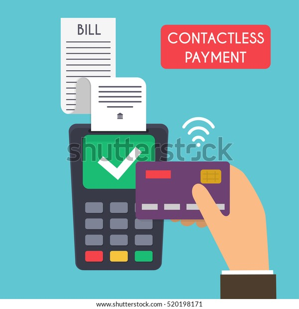 Contactless Payment Male Hand Holding Credit Stock Vector