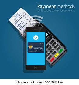 Contactless Payment Methods technology Mobile smart phone and wireless POS Terminal realistic style icons. Design concept of process contact less payments. Vector illustration