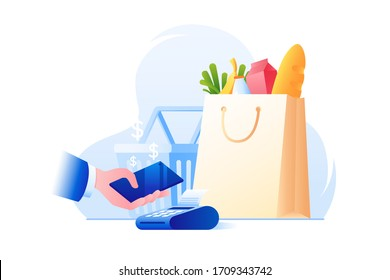 Contactless payment. NFC technology. Pay for purchases using your smartphone. Paying for purchases at supermarket. Colorful vector illustration in flat style.