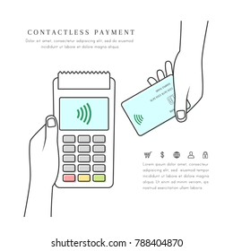 Contactless payment with POS terminal and hand holding card. Wireless and mobile transaction with NFC technology. Line art isolated on white background.