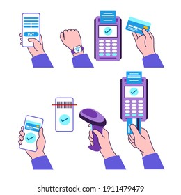 Contactless payment set. Hand holding device. POS terminal, credit card, smartphone, smartwatch, barcode scanner. NFC, online banking. Cashless transaction concept. Flat vector illustration.