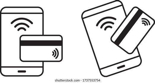 Contactless Payment and Touchless Touch Free Logos. Hands Free COVID-19 Icons. Mobile Phone Credit Card Pay Wave
