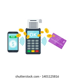 Contactless payment using a smartphone and a credit card in the payment terminal. Purchase using RFID or NFC technology via debit, credit or smartcards. Tap card near a point-of-sale terminal.
