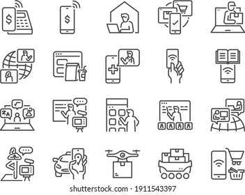 Contactless society line icon set. Included the icons as untact, online, shopping, e-commerce, and more.