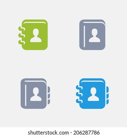 Contacts Book Icons. Granite Series. Simple glyph style icons in 4 versions. The icons are designed at 32x32 pixels.