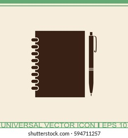 Contacts book with pen vector icon.