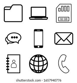 Contacts and communication icons set on white background