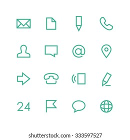Contacts icon set - vector minimalist. Different symbols on the white background.