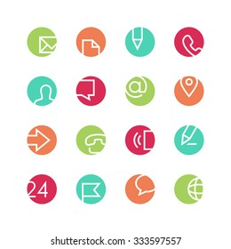 Contacts icon set - vector minimalist. Different symbols on the colored background.
