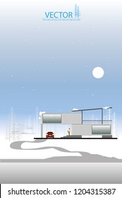 container box house on winter background.container box home.