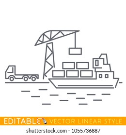 Container cargo ship loaded by harbor crane from cargo truck in the port dock. Naval transportation concept. Editable line sketch icon. Stock vector illustration.