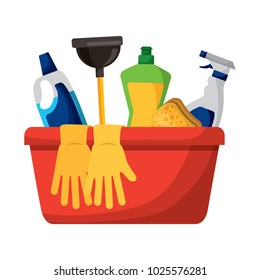 container with cleaning supplies gloves plunger sponge spary bottle and detergent