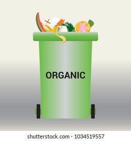 Container with garbage. Organic waste.