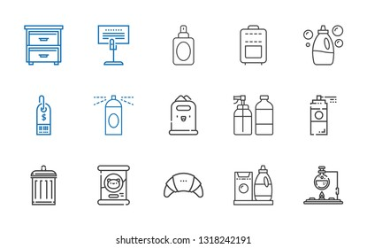 container icons set. Collection of container with flask, detergent, products, cat food, garbage, paint spray, spray, paper bin, hairspray. Editable and scalable container icons.
