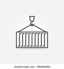Container line icon. Vector crane holding container minimal symbol or logo element in thin line style