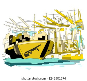 Container loading, unloading terminal with cargo ship and cranes. Transportation and logistics industry. Import and export business. Trade port vector illustration.