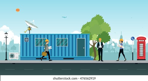 cargo container office. Container Office Construction Site With Engineers And Architects. Cargo