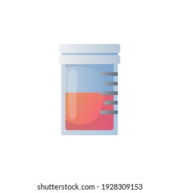 Container with pills icon. Colorful illustration of medicament isolated on white.