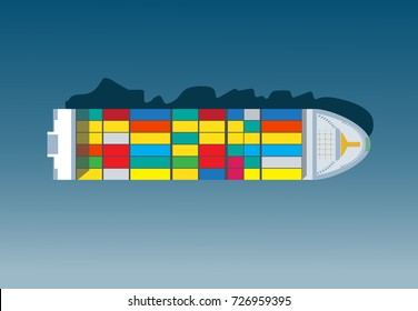 Container ship. Aerial top view. Cargo to harbor. Vector illustration flat design