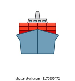 Container ship icon. Clipart image isolated on white background
